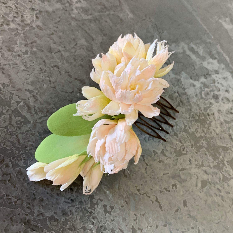 Свадебные украшения ручной работы. Ярмарка Мастеров - ручная работа. Купить Гребень с цветами из полимерной глины. Handmade. шпильки с цветами