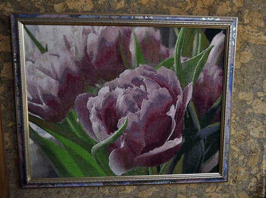 """Картины цветов ручной работы. Ярмарка Мастеров - ручная работа. Купить """"Тюльпаны"""", вышивка крестом. Handmade. Комбинированный, подарок, крестом"""