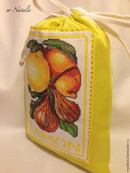 """Кухня ручной работы. Ярмарка Мастеров - ручная работа. Купить Льняной мешочек """"Лимон"""". Handmade. Мешочек с вышивкой, кухня"""