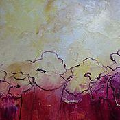 Картины и панно ручной работы. Ярмарка Мастеров - ручная работа Абстрактные цветы на красном фоне желтая красная картина. Handmade.