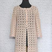 Одежда ручной работы. Ярмарка Мастеров - ручная работа Летнее ажурное пальто Крем-брюле. Ручная работа вязание крючком. Handmade.