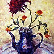 Картины и панно ручной работы. Ярмарка Мастеров - ручная работа Цветы в  синем чайнике. Холст, масло. Handmade.
