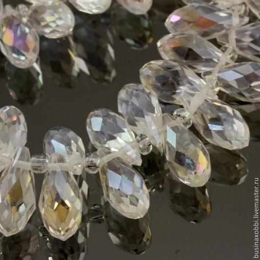 Бусины стеклянные граненые формы Бриолет со специальной обработкой cristallized бесцветные для сборки украшений