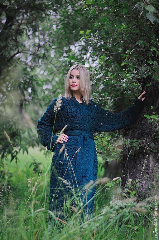 Верхняя одежда ручной работы. Ярмарка Мастеров - ручная работа. Купить Вязаное пальто Царевна-лягушка. Handmade. Тёмно-зелёный