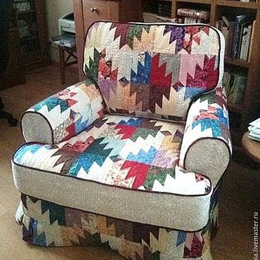 Для дома и интерьера ручной работы. Ярмарка Мастеров - ручная работа Чехол лоскутный на кресло (пэчворк, лоскутное шитье, чехлы на мебель). Handmade.