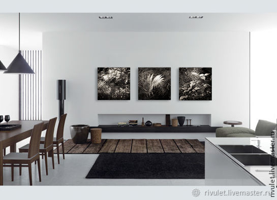 Black and white fine art photographs Nature, Fern Leaves Triptych Forest, Fine art photographs, Moscow,  Фото №1