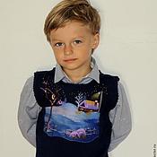 """Одежда ручной работы. Ярмарка Мастеров - ручная работа Детский вязаный жилет """"Ночь перед Рождеством"""". Handmade."""