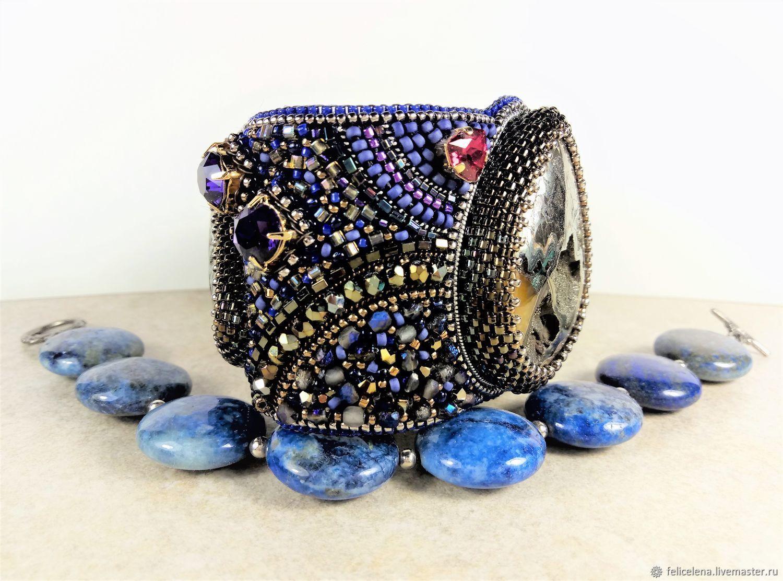 Широкий браслет с камнями Сказки Шахерезады