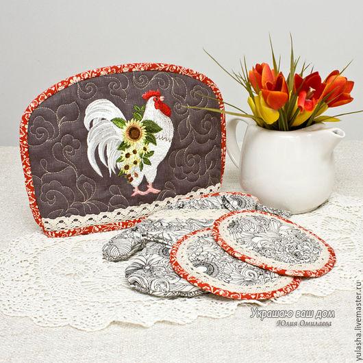 Петух Пасха, 8 Марта Подарок Набор для кухни. Грелка на чайник, прихватки. Подарок сувенир женщине маме, подруге на день рождения Текстиль для дома, кухни.