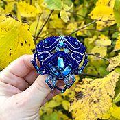 """Брошь-булавка ручной работы. Ярмарка Мастеров - ручная работа Брошь """"Синий краб"""". Handmade."""