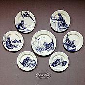 Посуда ручной работы. Ярмарка Мастеров - ручная работа Роспись фарфора Тарелки на стену Котята. Handmade.