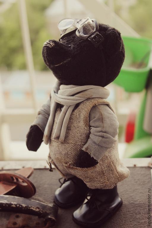 Мишки Тедди ручной работы. Ярмарка Мастеров - ручная работа. Купить тихон-авиатор. авторский мишка тедди. Handmade. Черный