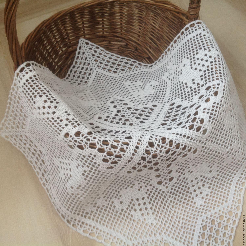 квадратная салфетка с птичками филейное вязание к пасхе купить в