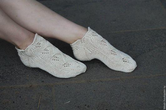 """Носки, Чулки ручной работы. Ярмарка Мастеров - ручная работа. Купить Короткие носки-следочки  """"Листики"""". Handmade. Белый"""