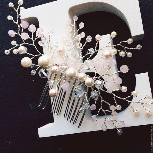 Украшение для свадебной или вечерней прически, гребень, ручная работа. Украшение для невесты. Свадебный стилист Анна Нерезова. Ярмарка Мастеров.