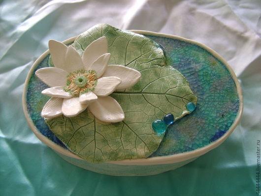 Шкатулки ручной работы. Ярмарка Мастеров - ручная работа. Купить шкатулка Лотос Керамика. Handmade. Бирюзовый, цветок, бохо, вода