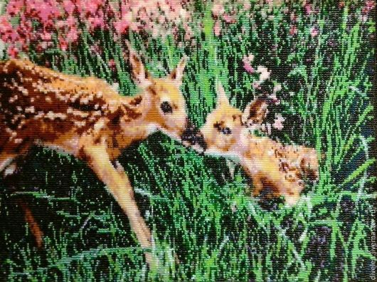 Животные ручной работы. Ярмарка Мастеров - ручная работа. Купить Гобелен из бисера ЛЕСНЫЕ ЦВЕТЫ. Handmade. Разноцветный, розовый, лес