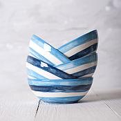 """Посуда ручной работы. Ярмарка Мастеров - ручная работа Пиала """"Морская"""" сине-голубо-белая. Handmade."""