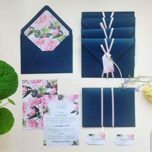 Свадебные аксессуары ручной работы. Ярмарка Мастеров - ручная работа. Купить Свадебные приглашения с цветной вставкой в конвертах. Handmade.