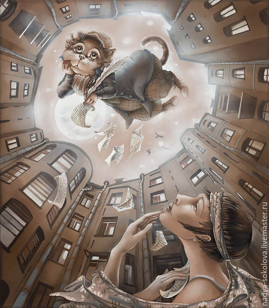 Фантазийные сюжеты ручной работы. Ярмарка Мастеров - ручная работа. Купить Белые ночи. Handmade. Коричневый, Санкт-Петербург, девушка