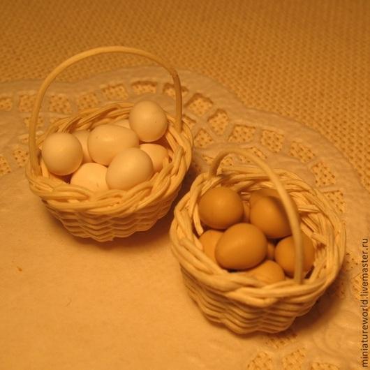 Еда ручной работы. Ярмарка Мастеров - ручная работа. Купить Яйца 1:12. Handmade. Белый, яйца, миниатюра для кукол, миниатюрный
