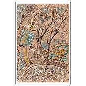 """Открытки ручной работы. Ярмарка Мастеров - ручная работа Открытка авторская - """"Рыбы, турка и сова"""". Handmade."""
