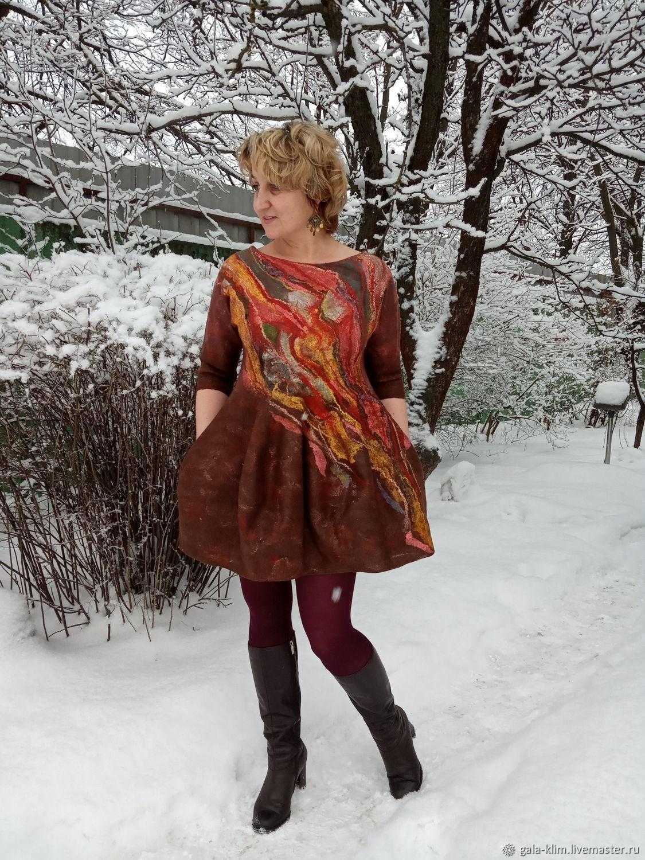 Felted dress 'Truffle' Klimkin Galina, Dresses, Losino-Petrovsky,  Фото №1