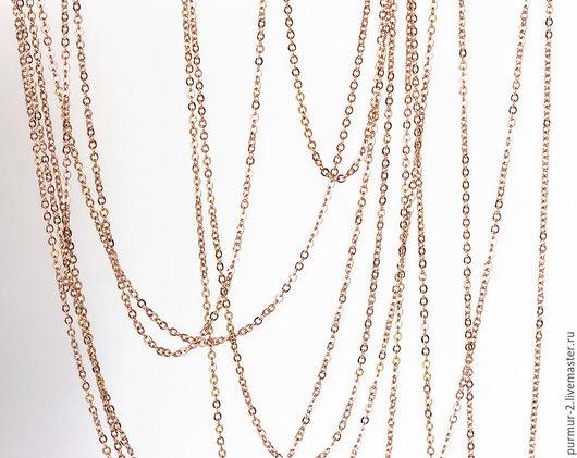 Для украшений ручной работы. Ярмарка Мастеров - ручная работа. Купить 2150_0,5м_Цепочка позолоченная 1,8ммx2мм, Фурнитура розовое золото. Handmade.