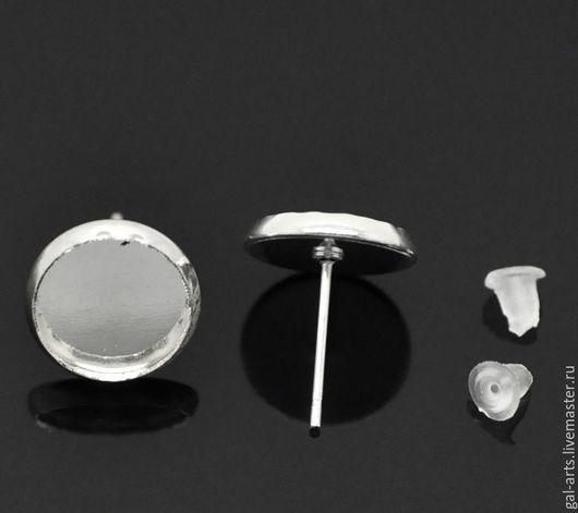 Для украшений ручной работы. Ярмарка Мастеров - ручная работа. Купить Серьги-гвоздики с сеттингом 10мм, серебро. Handmade.