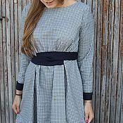 Одежда ручной работы. Ярмарка Мастеров - ручная работа Длинное платье в сине-белую клетку с поясом и манжетами. Handmade.