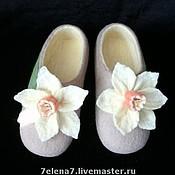 """Обувь ручной работы. Ярмарка Мастеров - ручная работа Тапочки домашние """"Нарцисс"""". Handmade."""