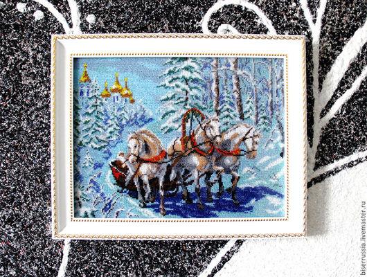 Животные ручной работы. Ярмарка Мастеров - ручная работа. Купить Тройка белых лошадей 36,5 х 46,5. Handmade.