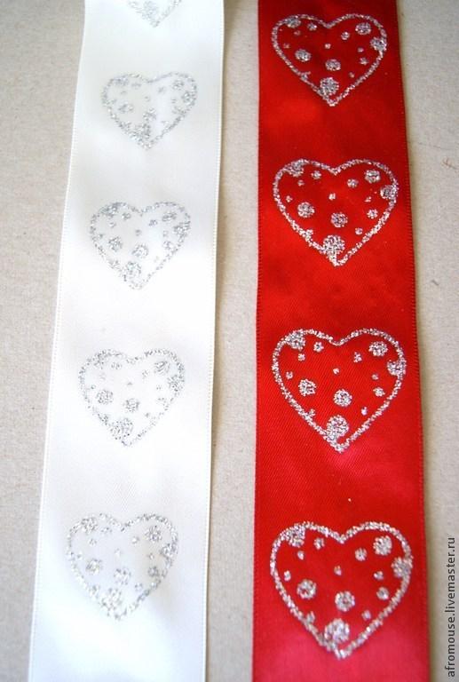 ленты с сердечками для декора свадебных аксессуаров