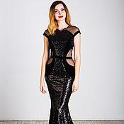 Одежда handmade. Livemaster - original item Black floor-length dress with sequins. Handmade.