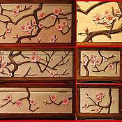 Для дома и интерьера ручной работы. Ярмарка Мастеров - ручная работа Сакура розовая - Чайная шкатулка резная. Handmade.
