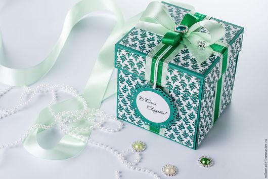"""Подарки на свадьбу ручной работы. Ярмарка Мастеров - ручная работа. Купить коробочка для денег на свадьбу """"Изумрудная"""". Handmade. Тёмно-зелёный"""