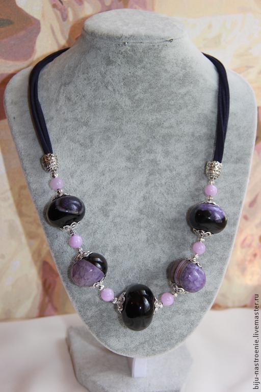 Колье, бусы ручной работы. Ярмарка Мастеров - ручная работа. Купить ожерелье Виолетта. Handmade. Тёмно-фиолетовый, стильное украшение