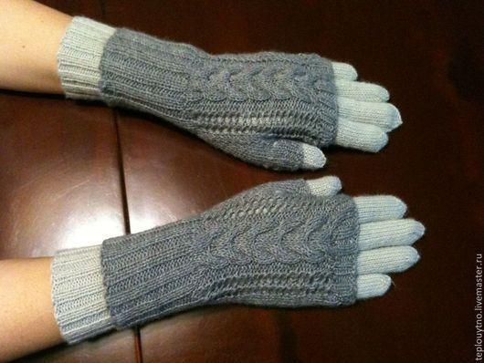 Варежки, митенки, перчатки ручной работы. Ярмарка Мастеров - ручная работа. Купить Перчатки вязаные шерстяные. Handmade. Серый