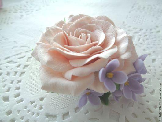 """Заколки ручной работы. Ярмарка Мастеров - ручная работа. Купить Зажим для волос """"Роза"""". Handmade. Бледно-розовый, цветы, роза"""
