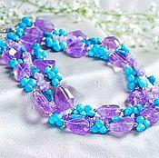 Украшения handmade. Livemaster - original item Amethyst necklace with turquoise