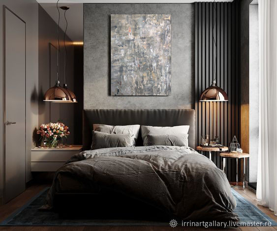 Стильная картина для современного интерьера с серебром и бронзой серая, Картины, Москва,  Фото №1