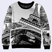 """Одежда ручной работы. Ярмарка Мастеров - ручная работа Черно-белый свитшот """"Париж"""". Handmade."""