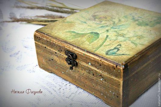шкатулка деревянная состаренная для украшений шкатулка для чая и кофе