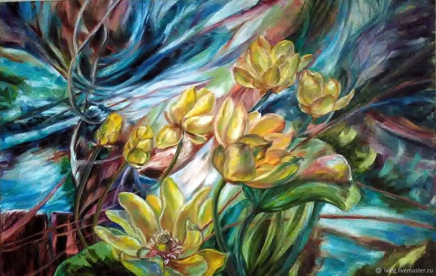 Oil painting 'Air and water'. canvas flowers lotuses, Pictures, Chelyabinsk,  Фото №1
