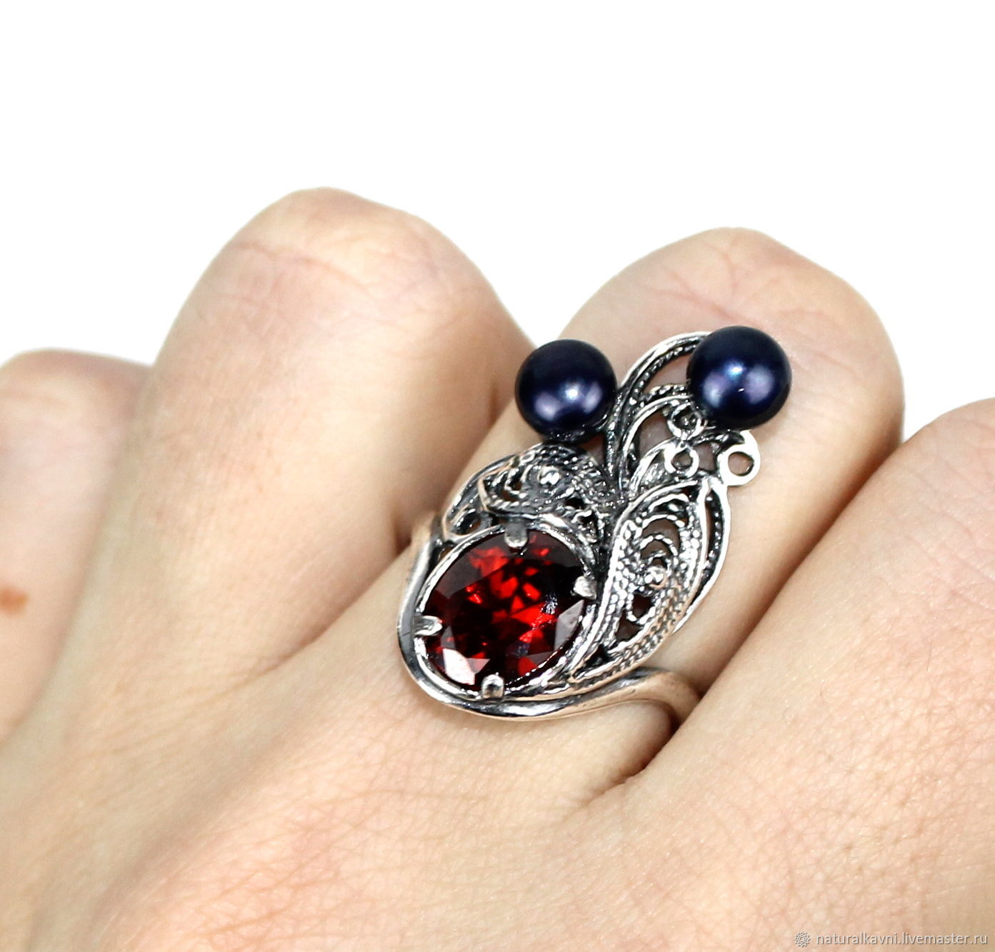 Ring natural pearls and cubic Zirconia garnet, Rings, Moscow,  Фото №1