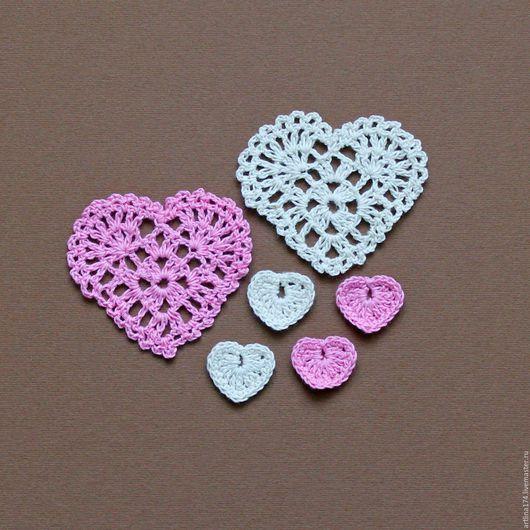 Цветы крючком. Купить цветы вязанные в магазине для творчества `Цветочки для скрапбукинга`. Салфетка крючком. Сердечки  крючком.