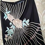 Винтаж handmade. Livemaster - original item Vintage clothing:skirt with embroidery, silk cotton, luxury England. Handmade.