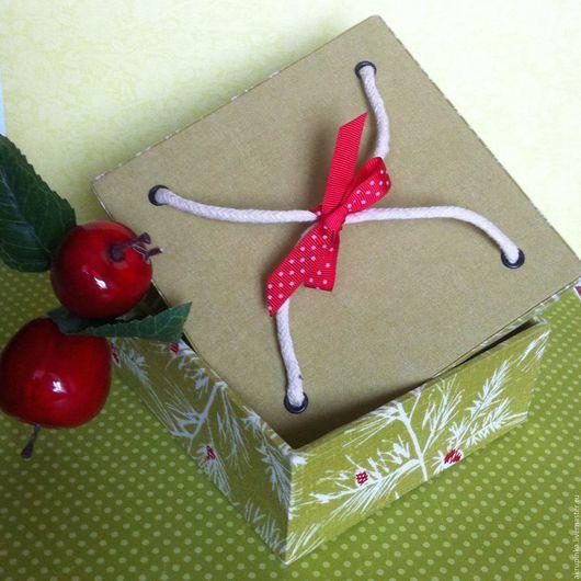 Упаковка ручной работы. Ярмарка Мастеров - ручная работа. Купить Коробка (ткань) подарочная. Handmade. Оливковый, подарочная коробка, коробка