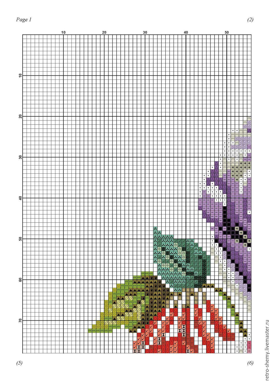 Схема вышивки с тюльпанами