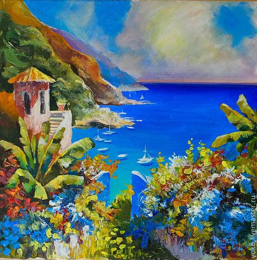"""Пейзаж ручной работы. Ярмарка Мастеров - ручная работа. Купить Картина со средиземноморьем """"Адриатика"""" (холст, масло). Handmade. Синий"""